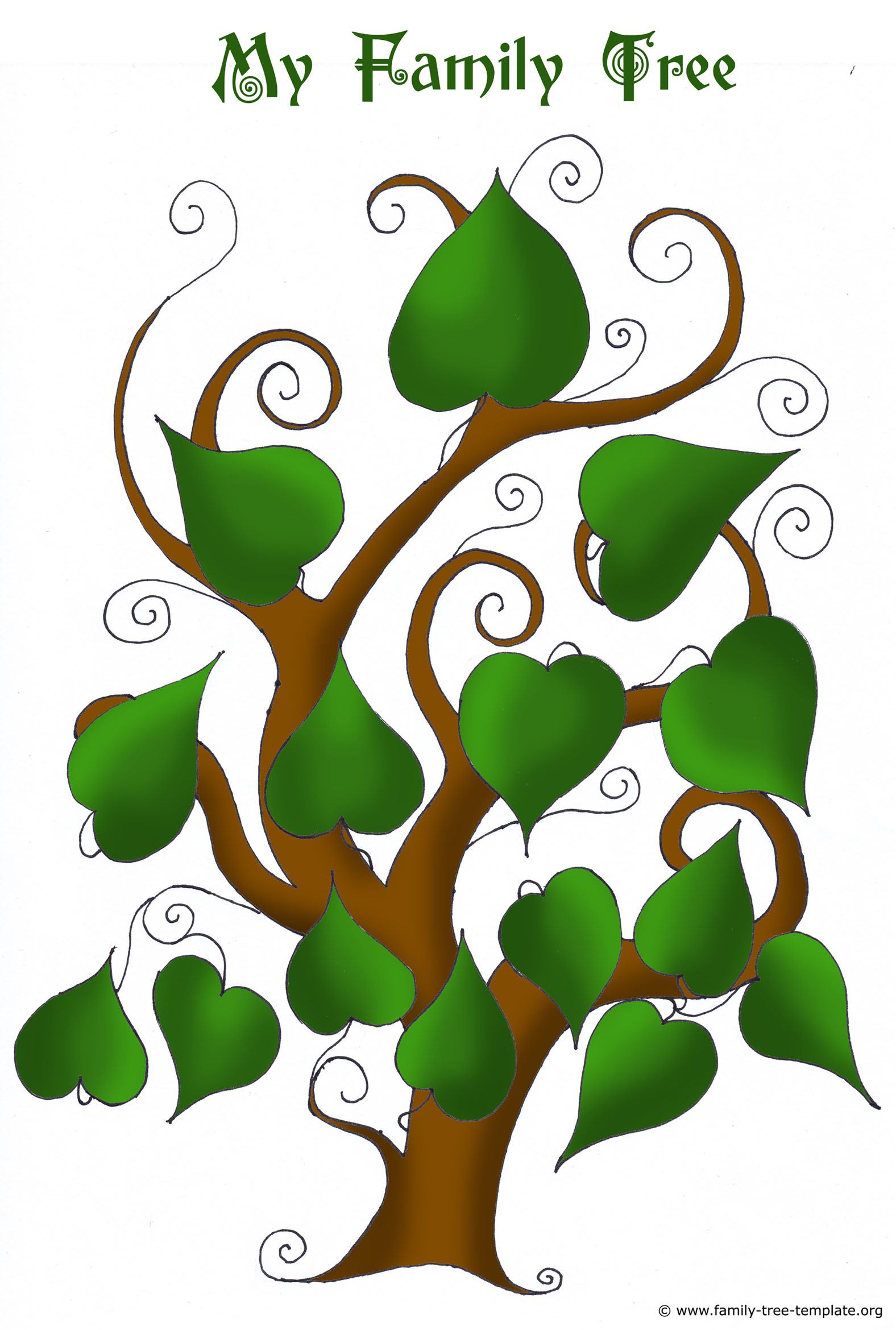 4 generation family tree with heart shaped leaves.