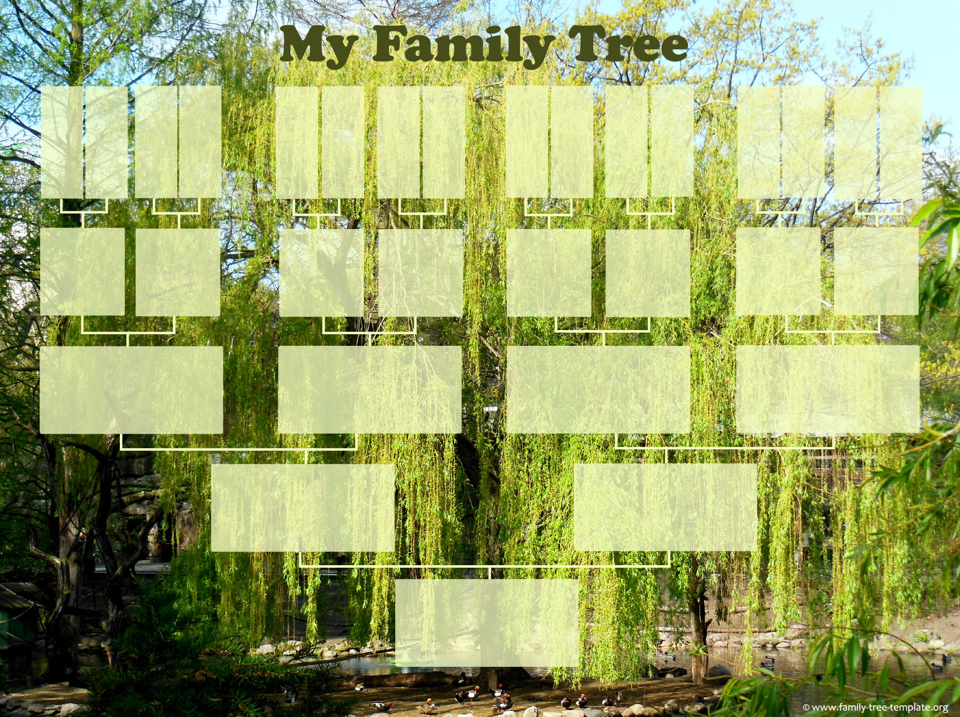 Family tree template form up to great great grandparents.