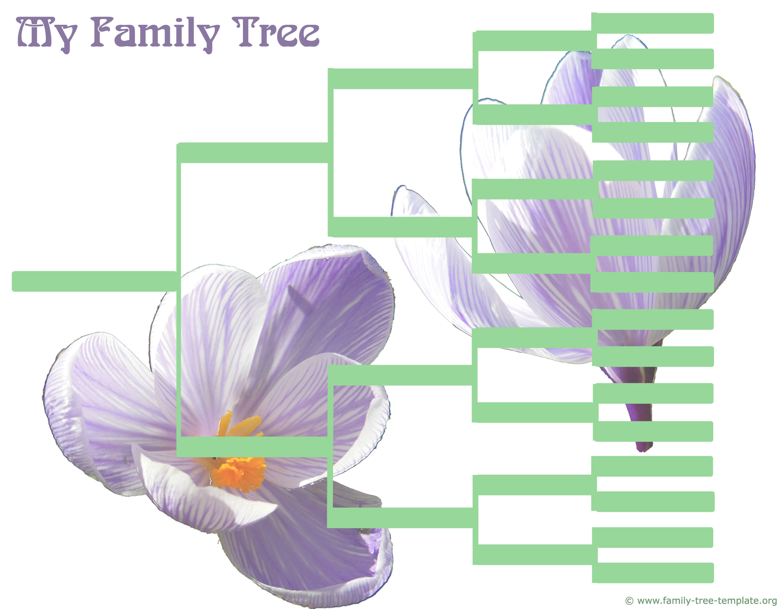 Large printable family tree chart going back 5 generations.