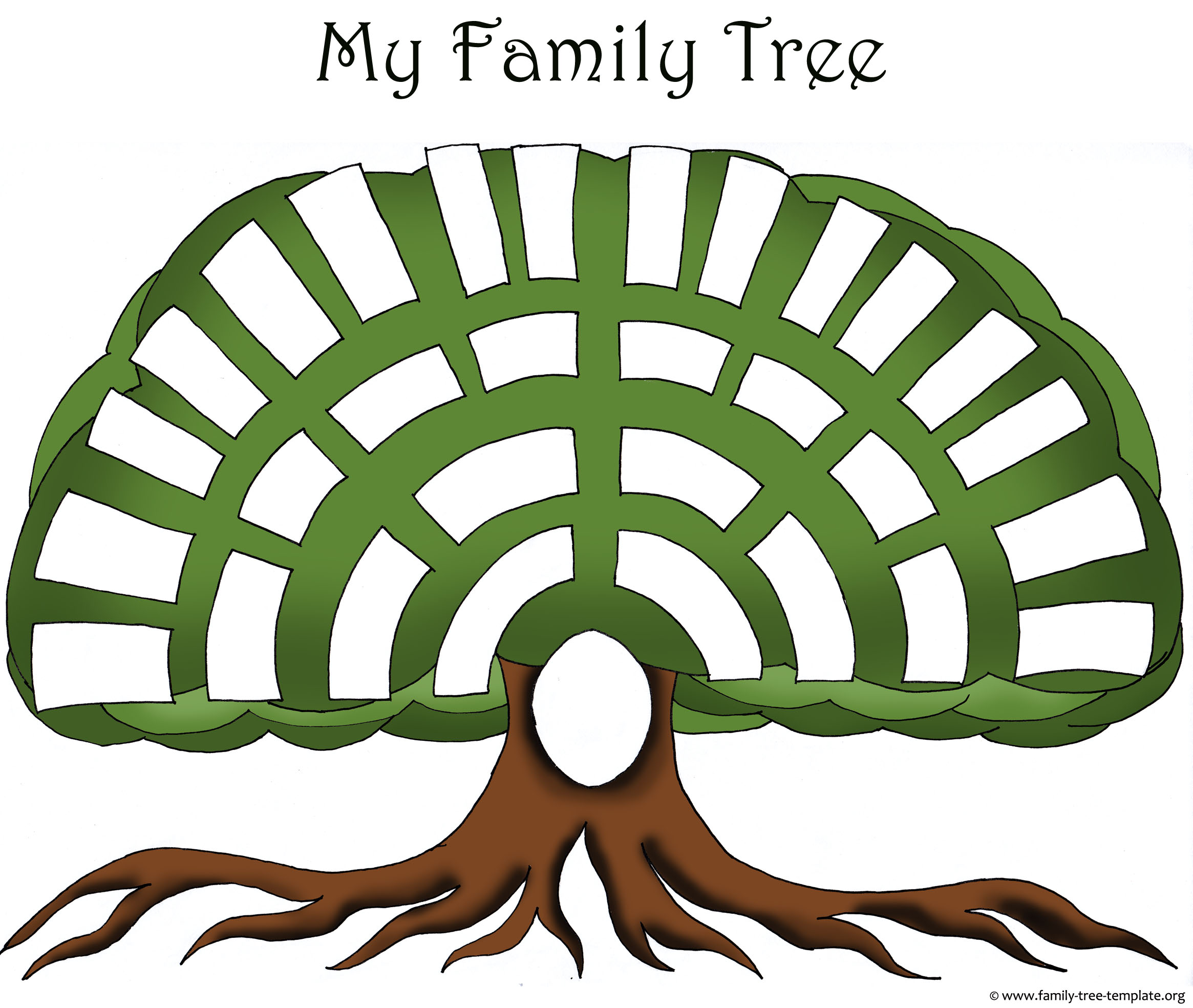 Creative homemade family tree design template with space for great-great-grandparents.