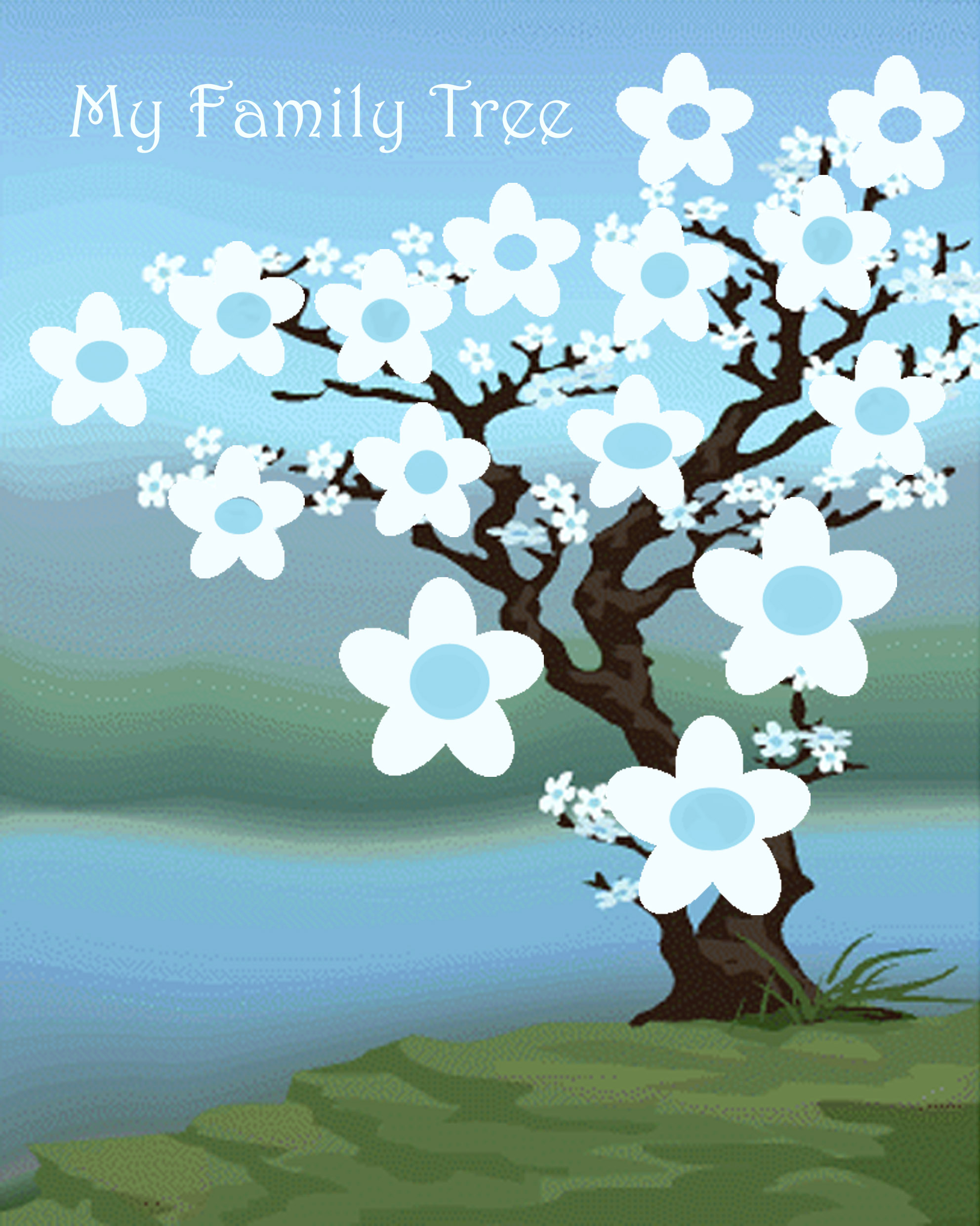 An Asian version of a family tree - just plot in the family names in the flowers.