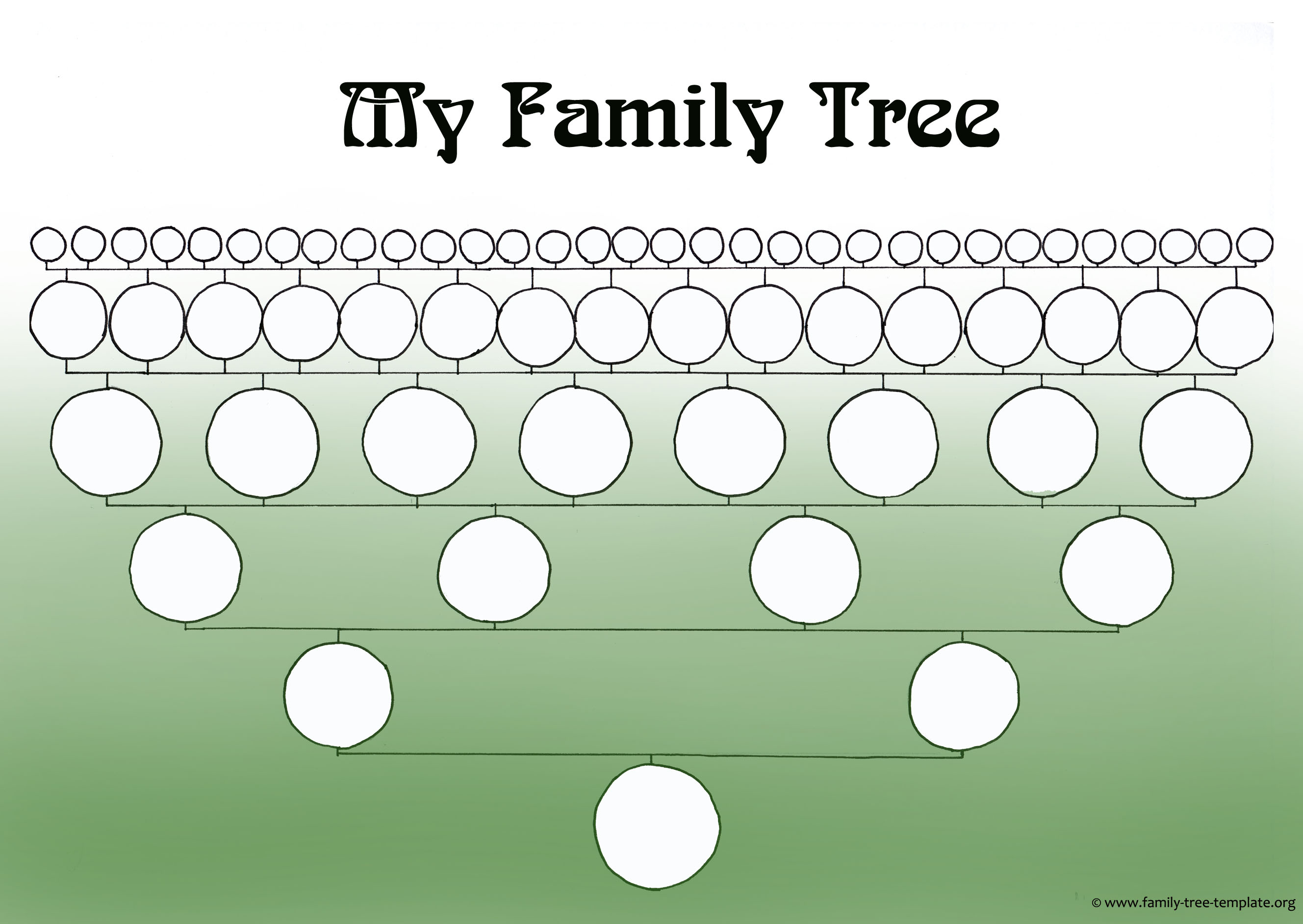 A very simple family tree with circles representing family members.