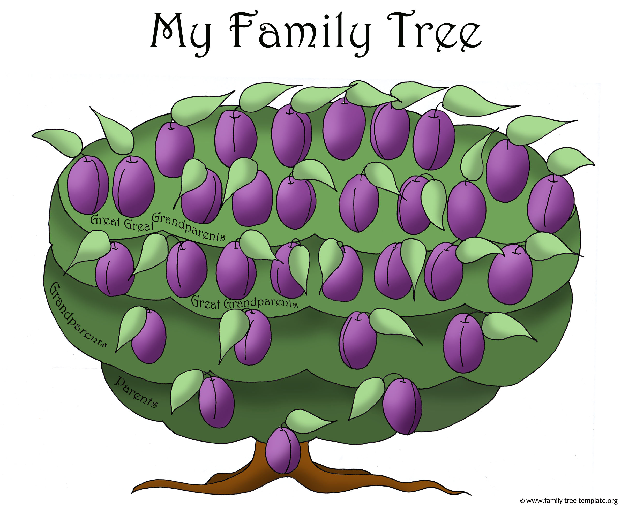 Big blank family tree with plums for family members. Ideal for printing.