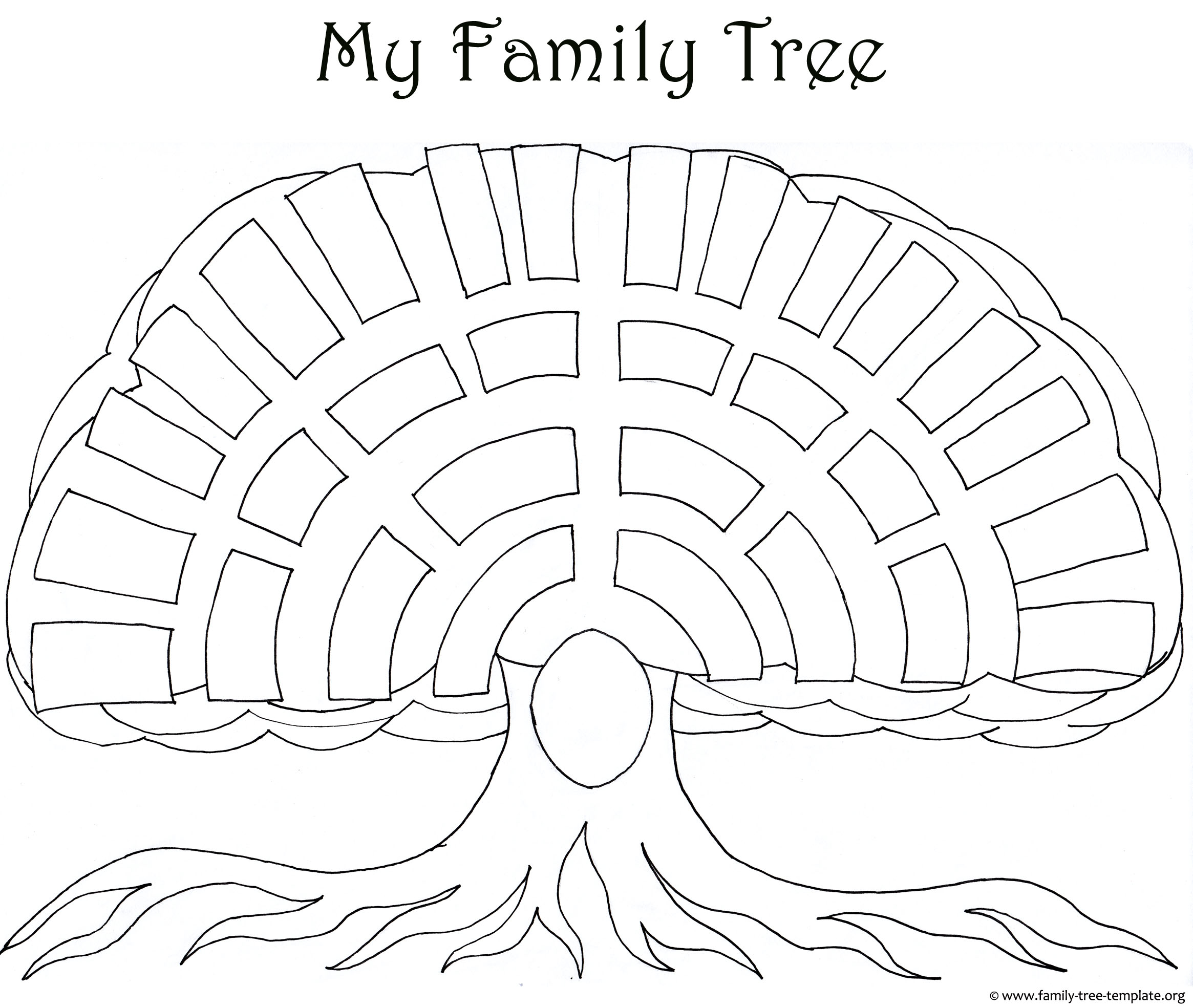 Big oak family tree template as a coloring page for kids and their parents.