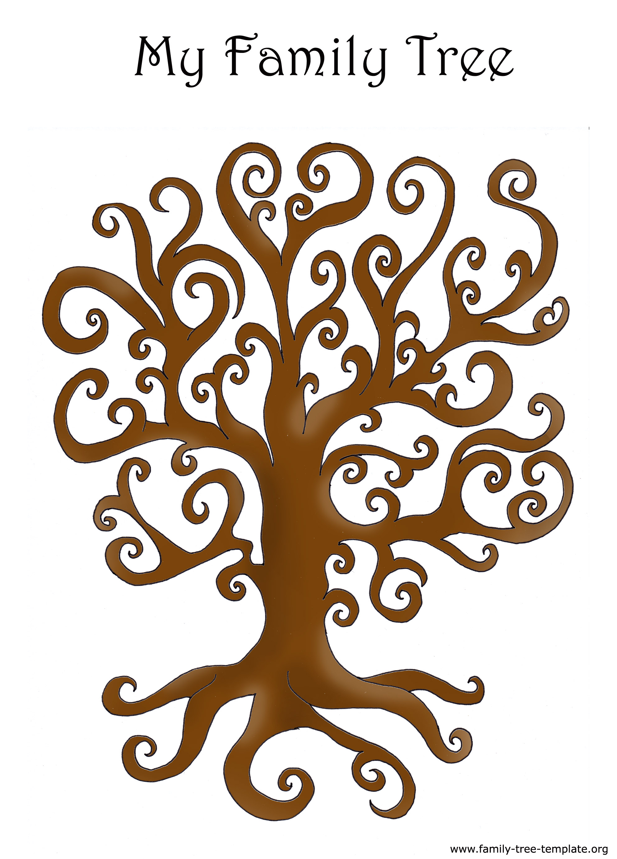 Curly Tree Color Template