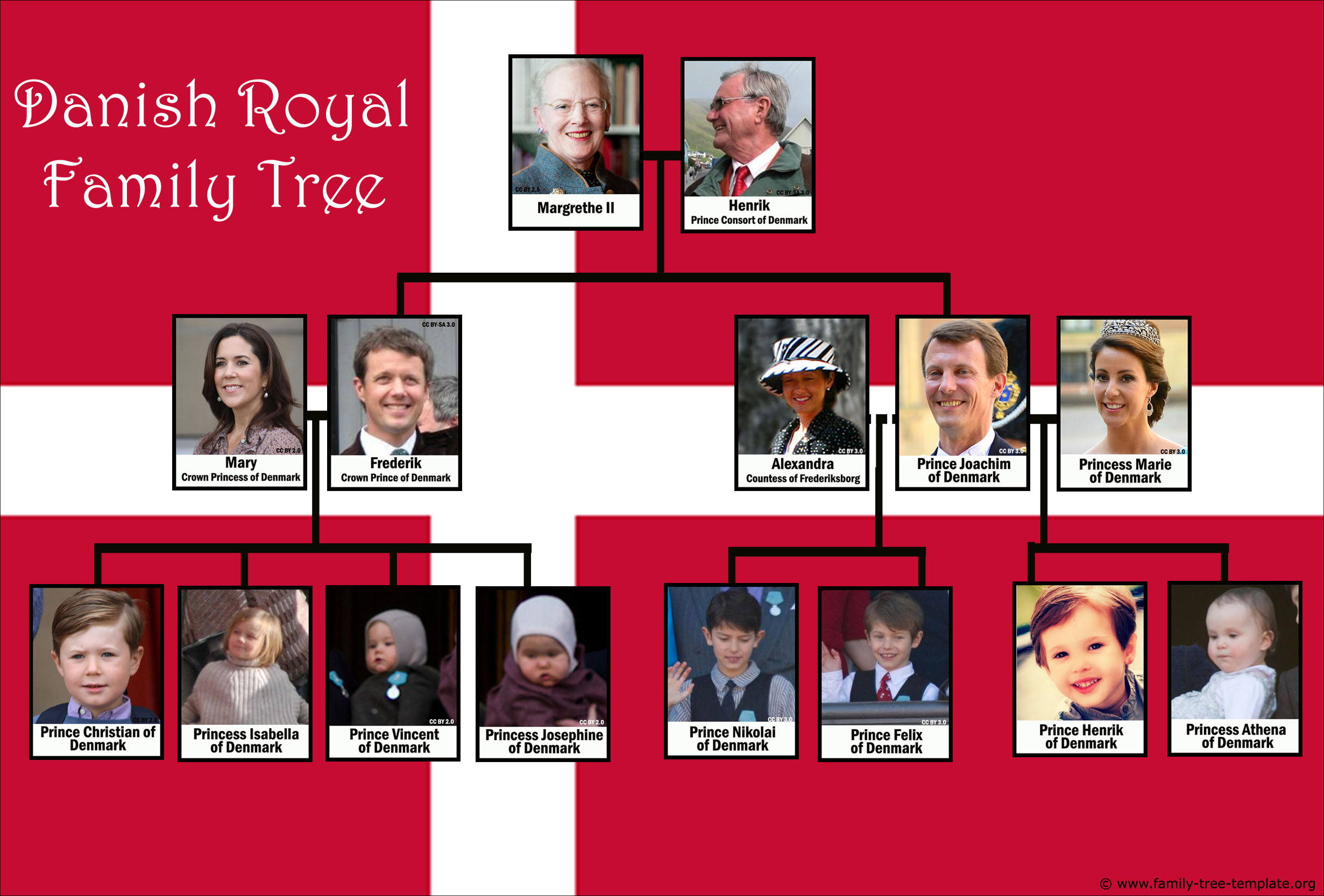 Family tree of the Kingdom of Denmark with Queen Margrethe II.