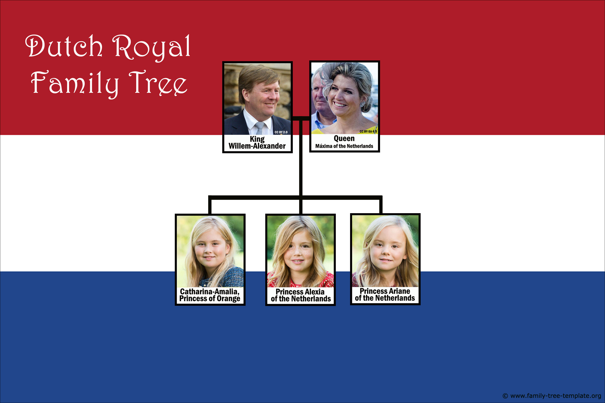 Royal Dutch family tree with King Willem-Alexander