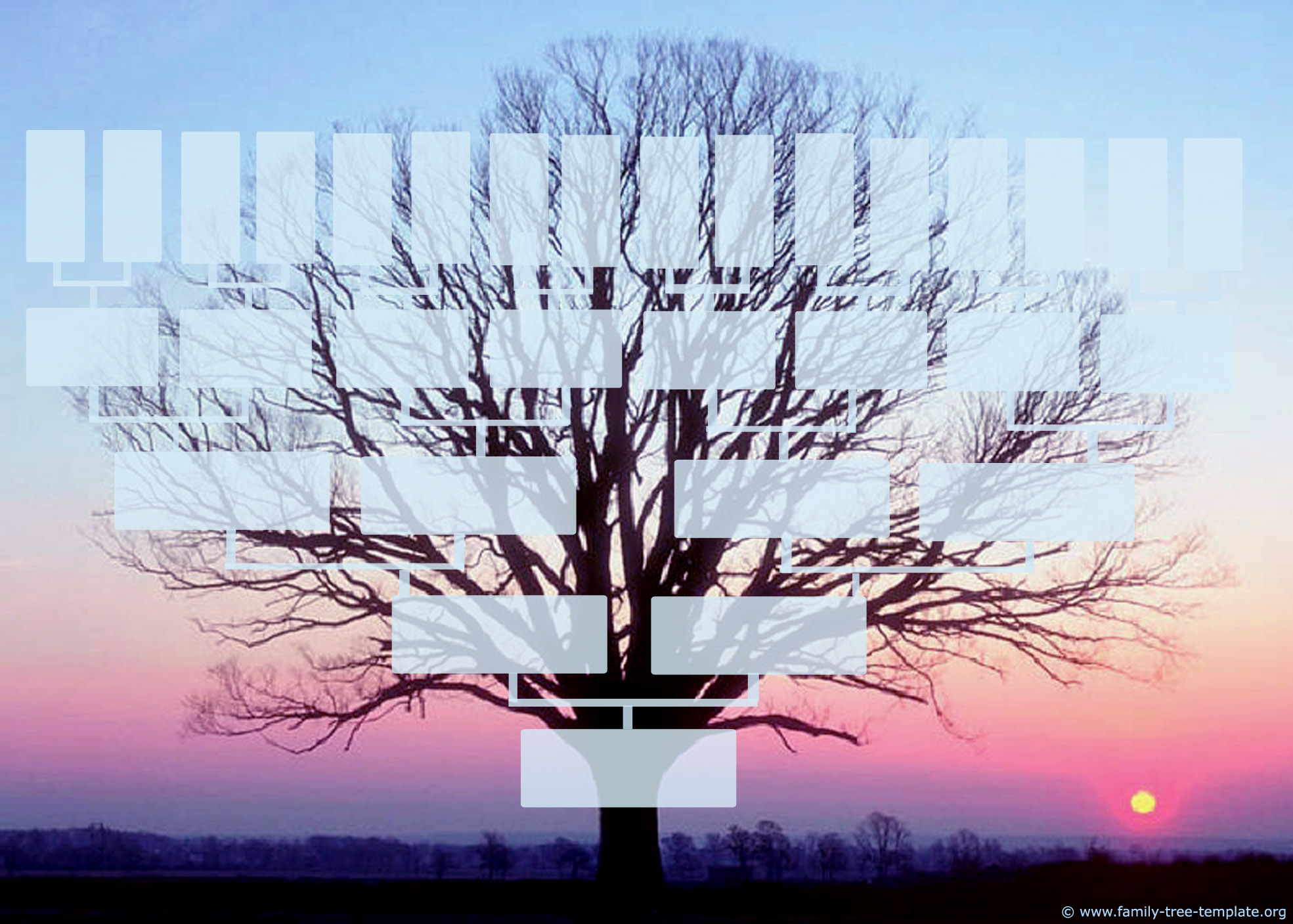 Beautiful family tree form in winter landscape with a sunrise on the background.