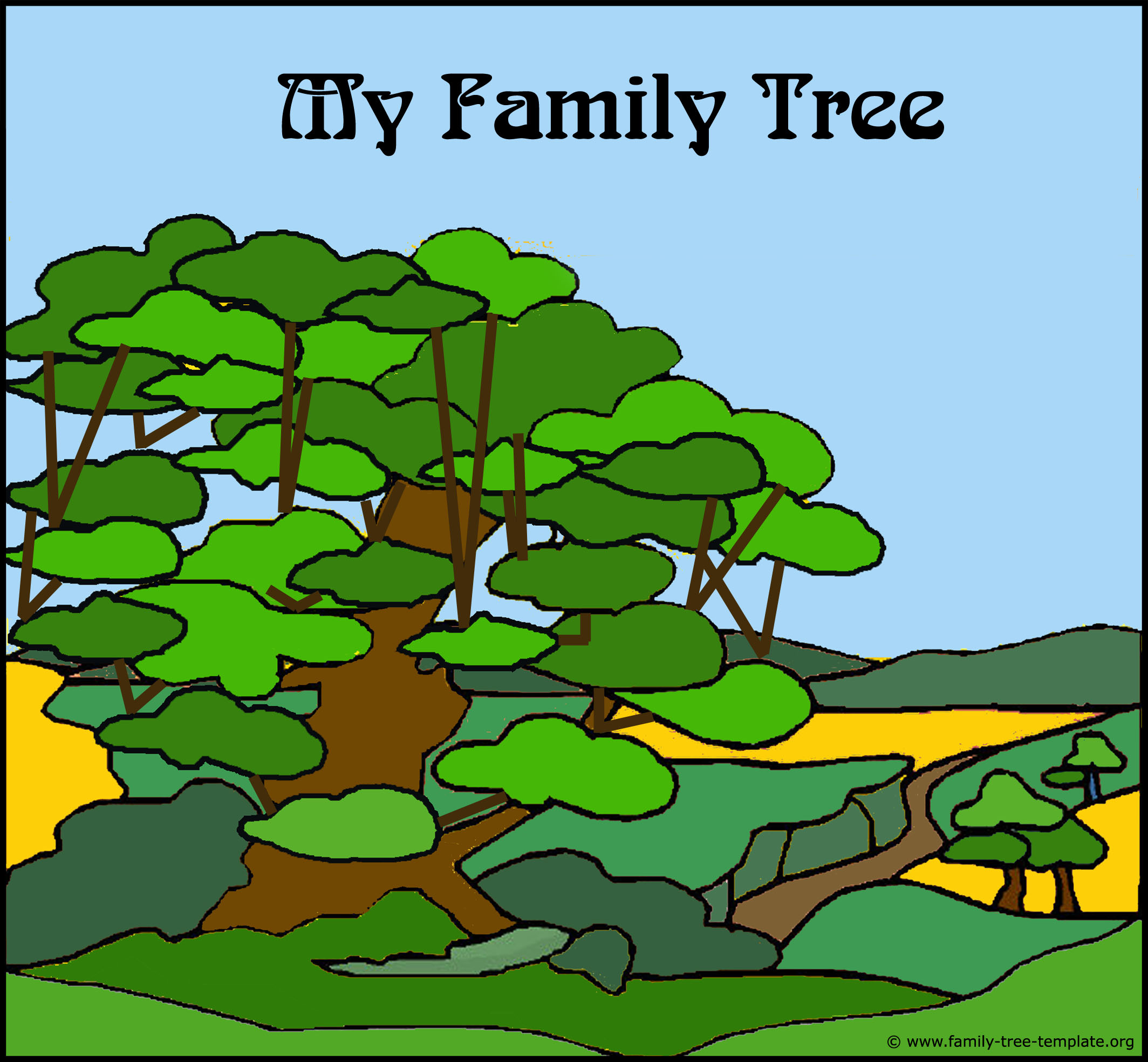 Puzzling family tree form for kids to plot in their relatives all the way back to their great grandparents.