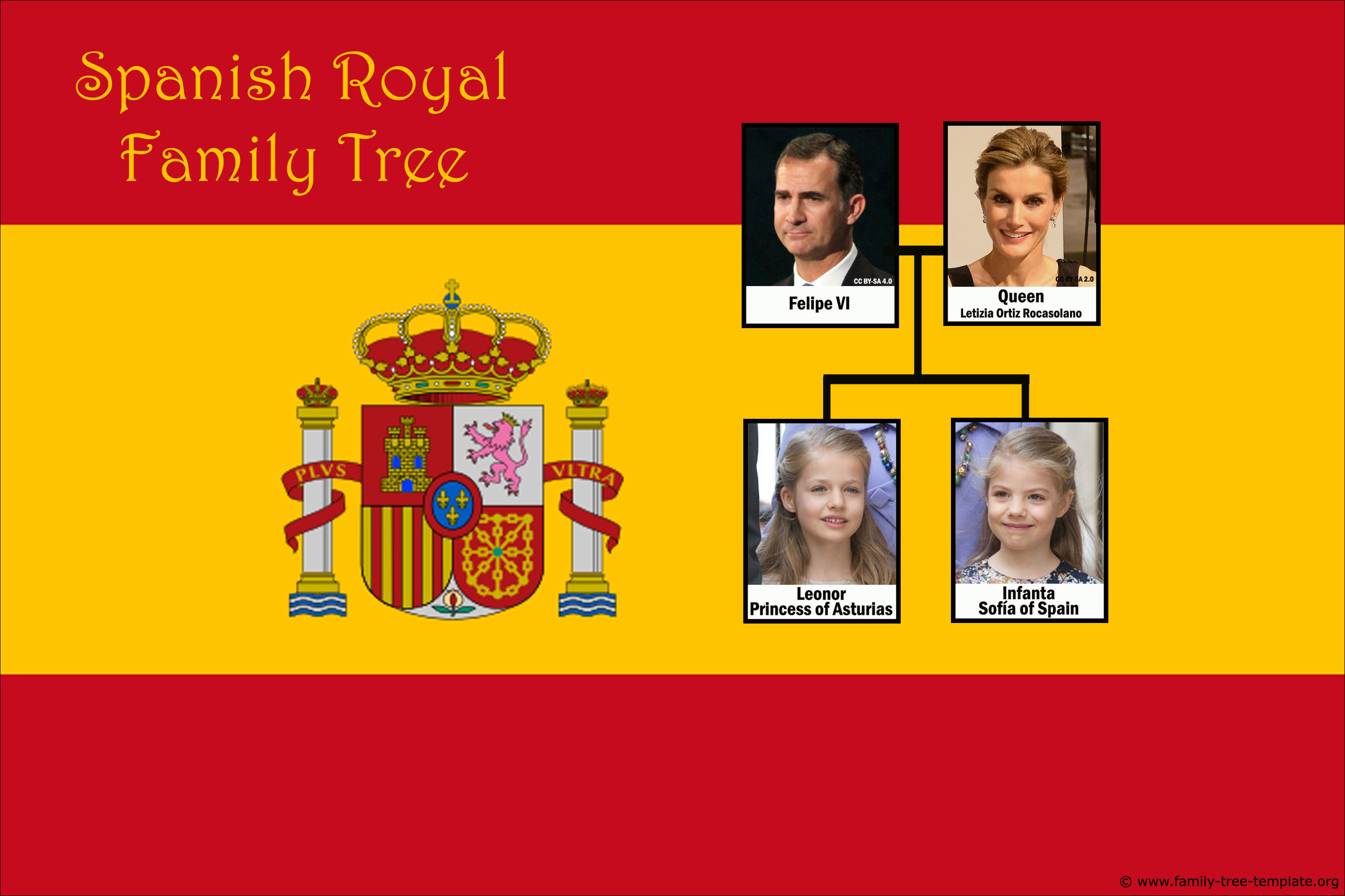 Family tree of royal Spanish King Felipe VI.