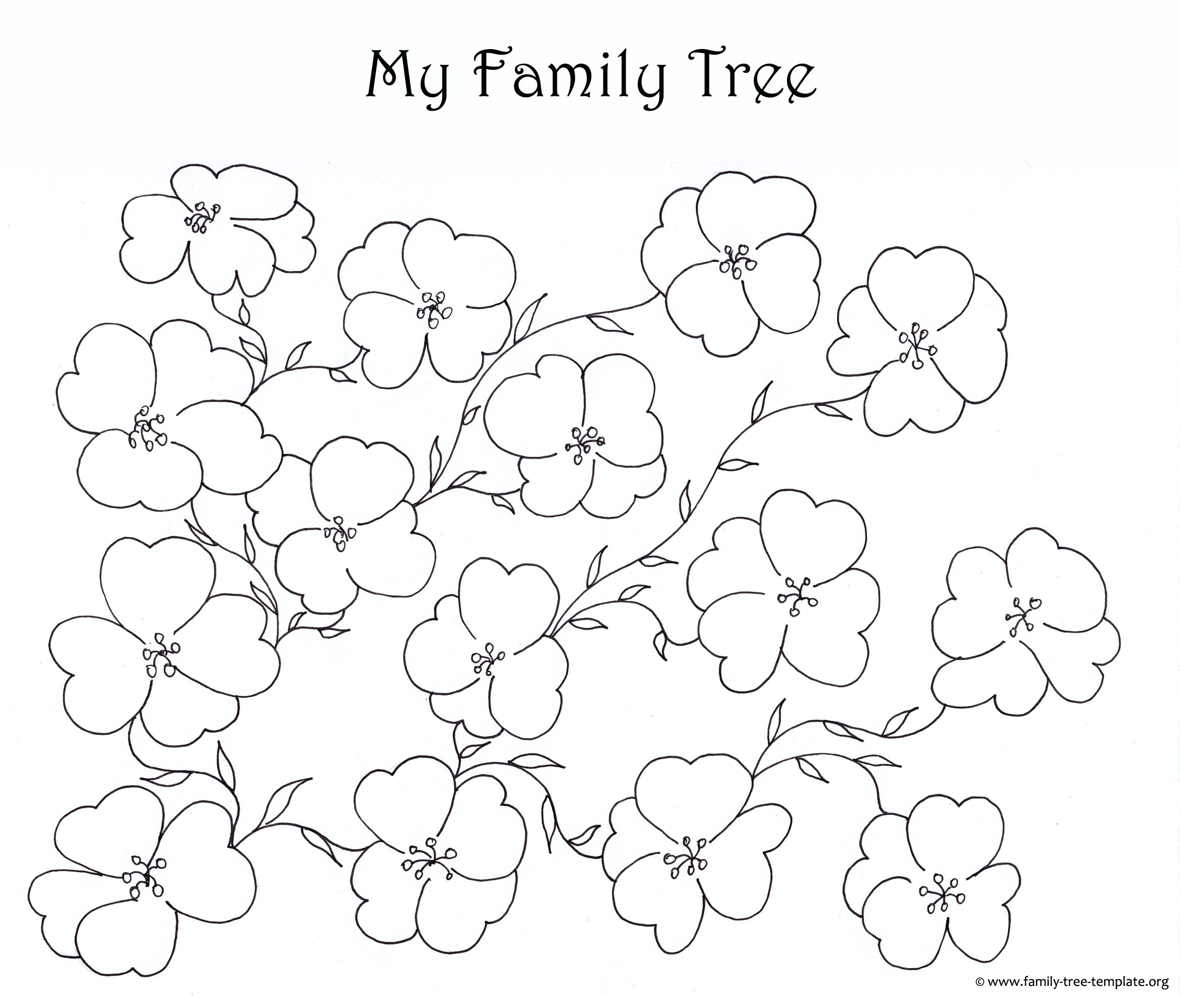 Blank family tree for kids to color: Flower theme.