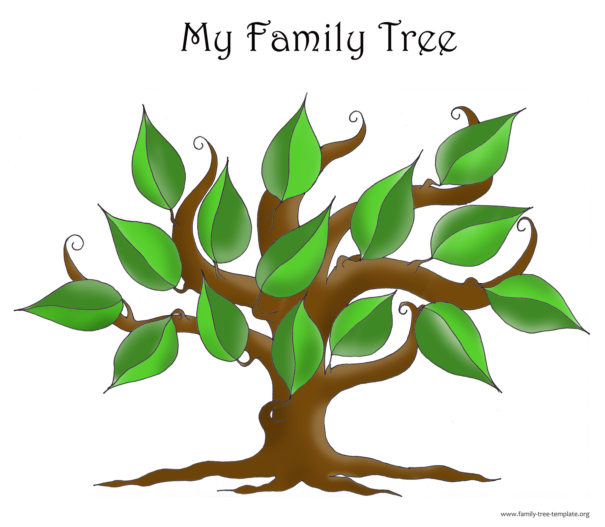 Genealogy tree with leaves so that you can plot in family members where you want to