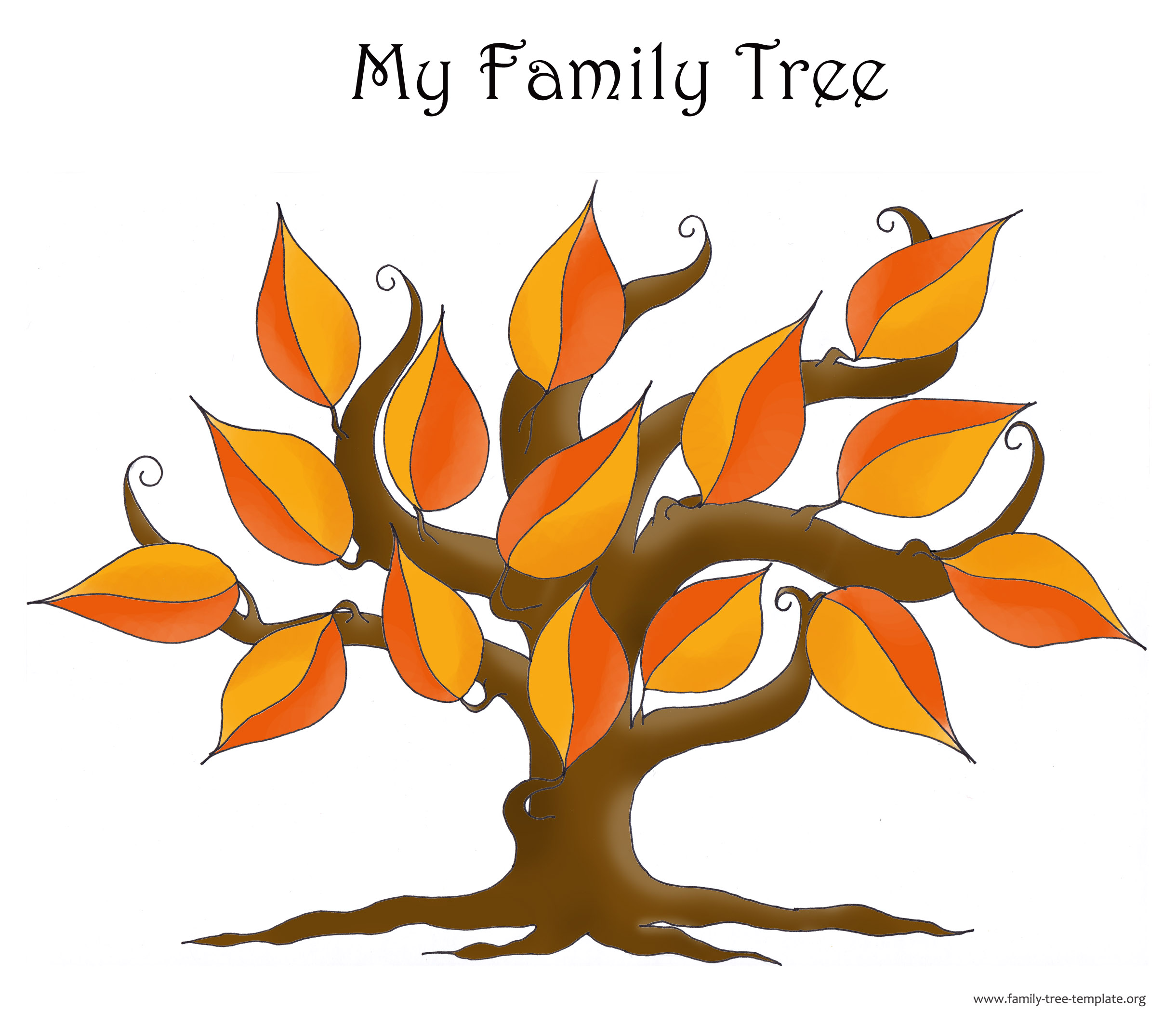 Another version of family tree chart in red and orange autumn colors