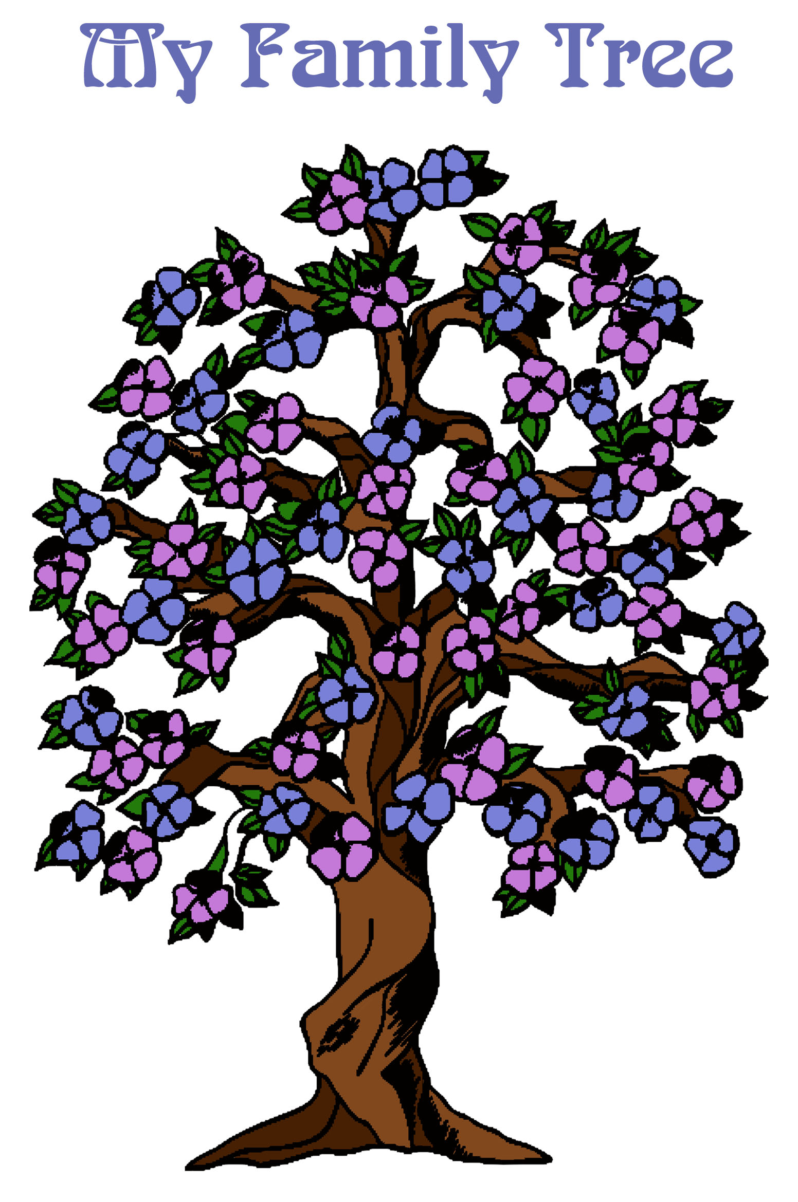 Family tree design for kids with colorful flowers.