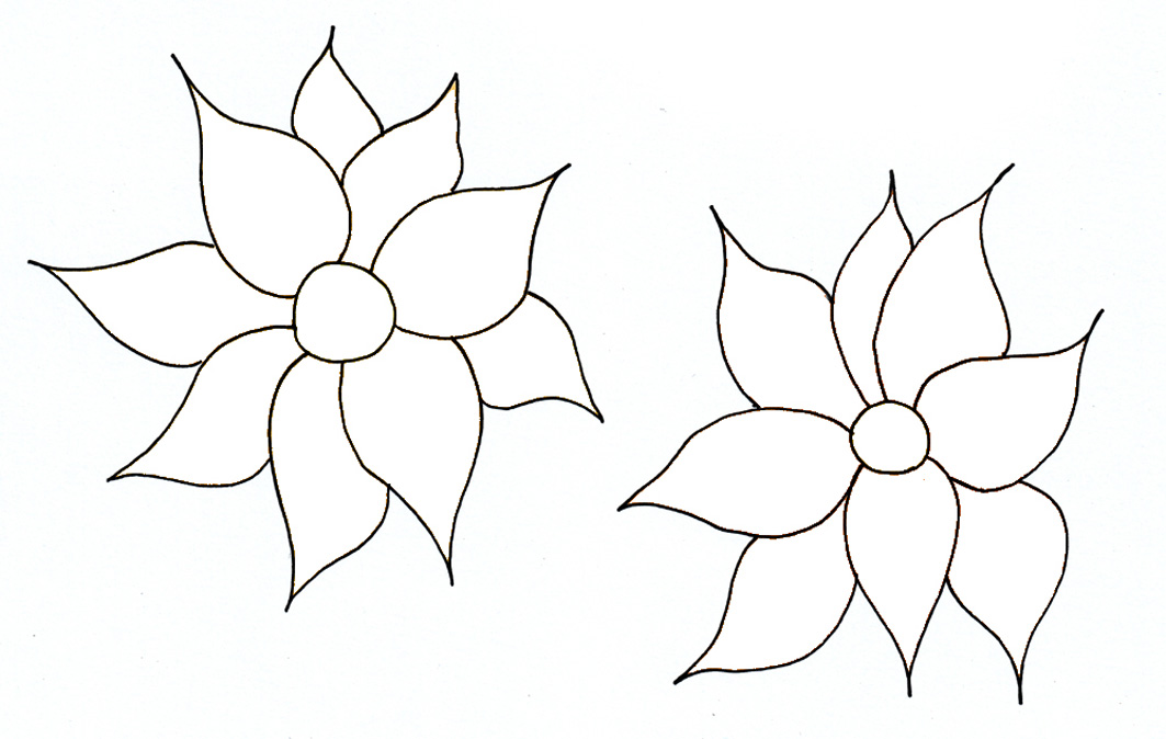 Simple flowers for coloring