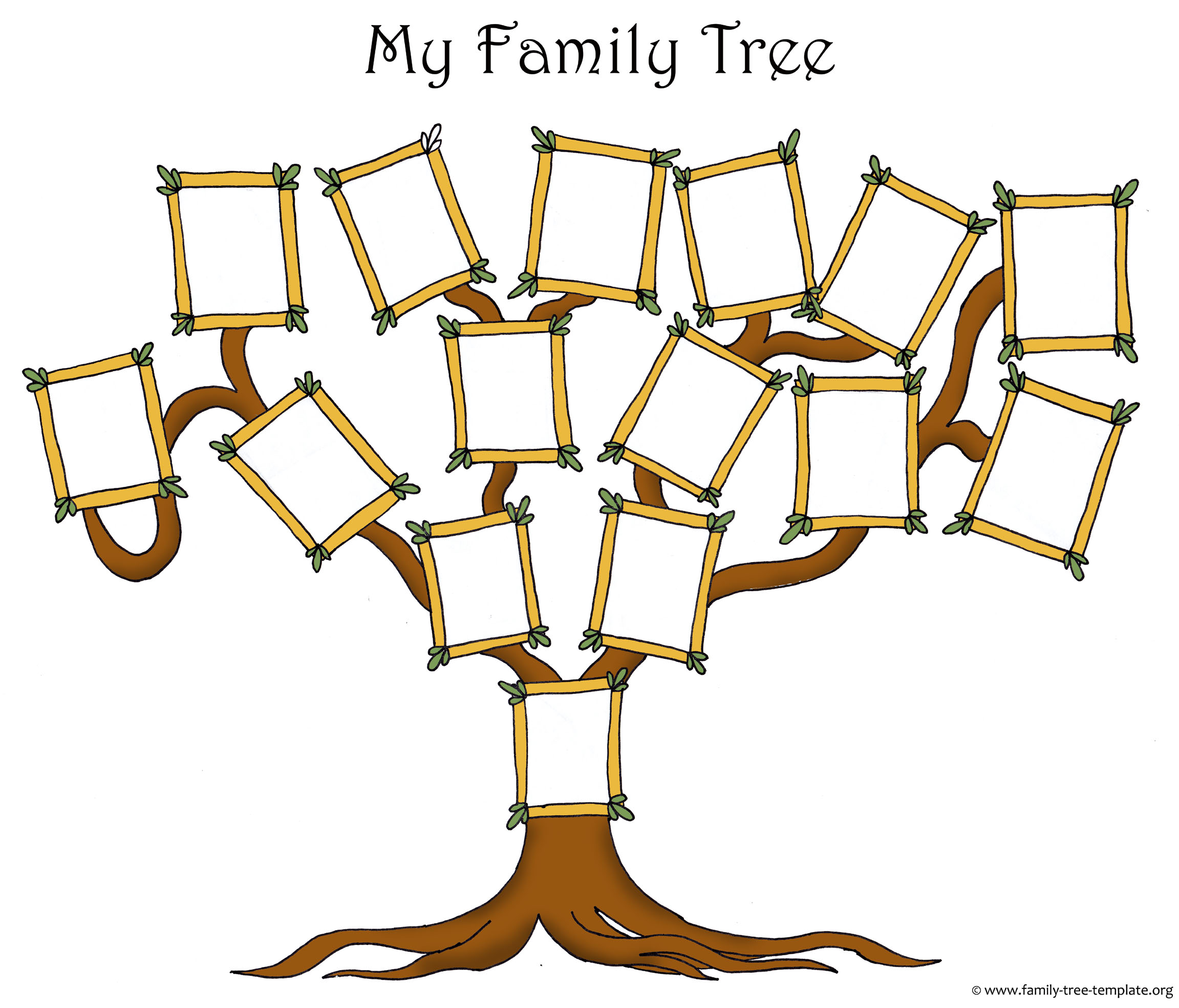 a printable blank family tree with picture frames
