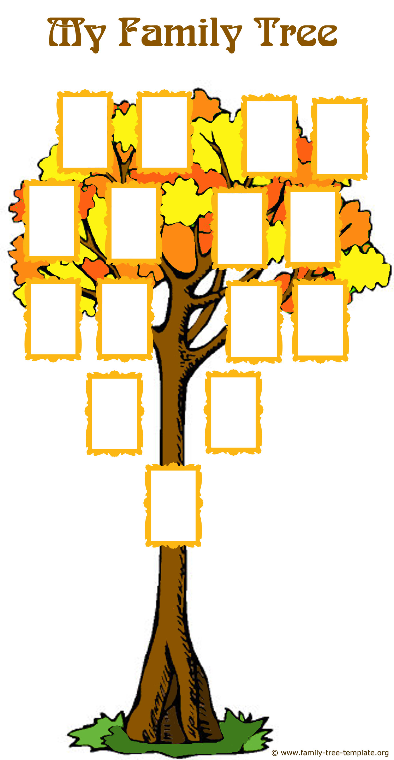 Great family tree template for kids with picture frames for family members: draw, glue or write.