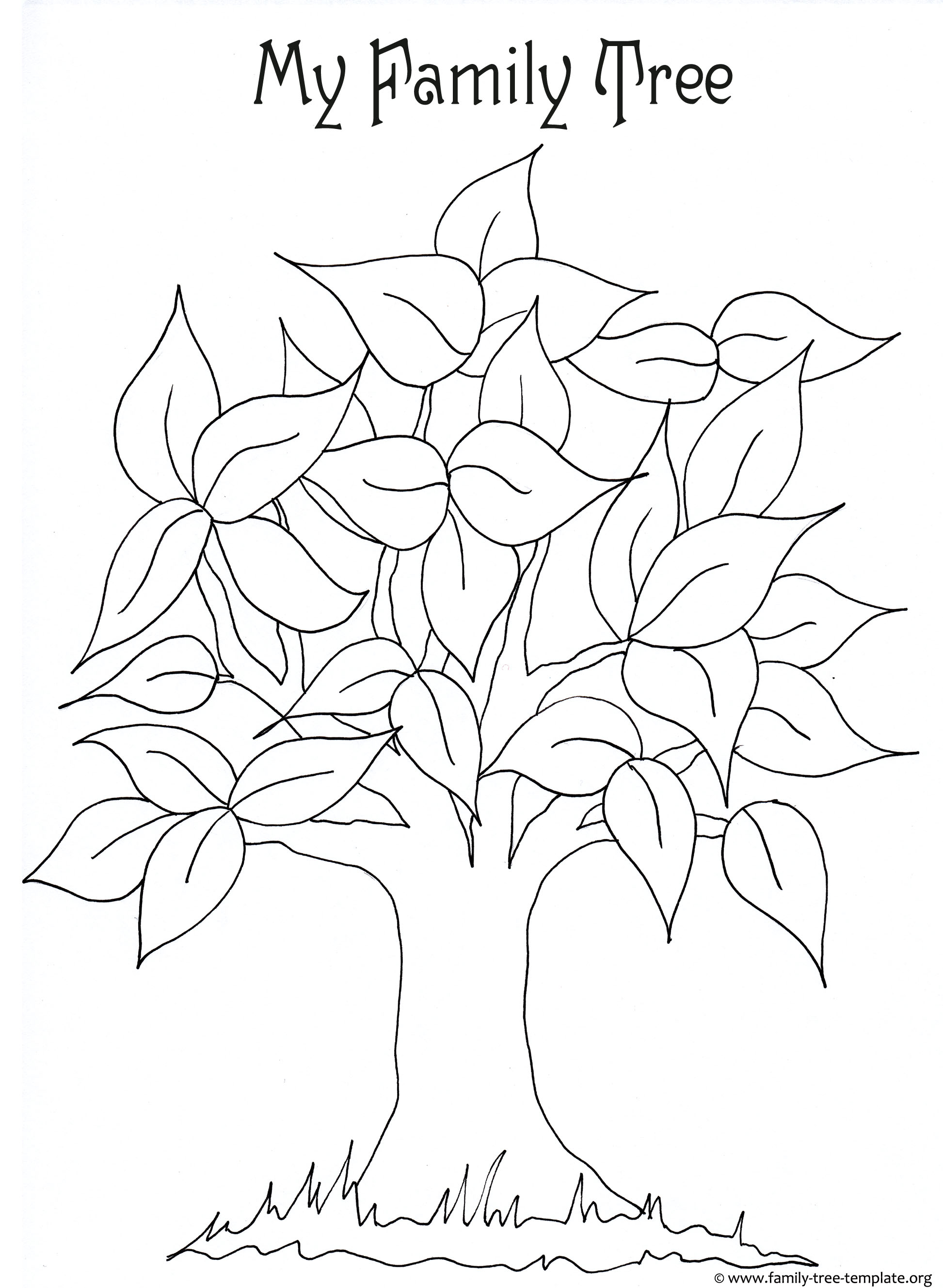 Free printable coloring page for kids with leaves and tree trunk to color.