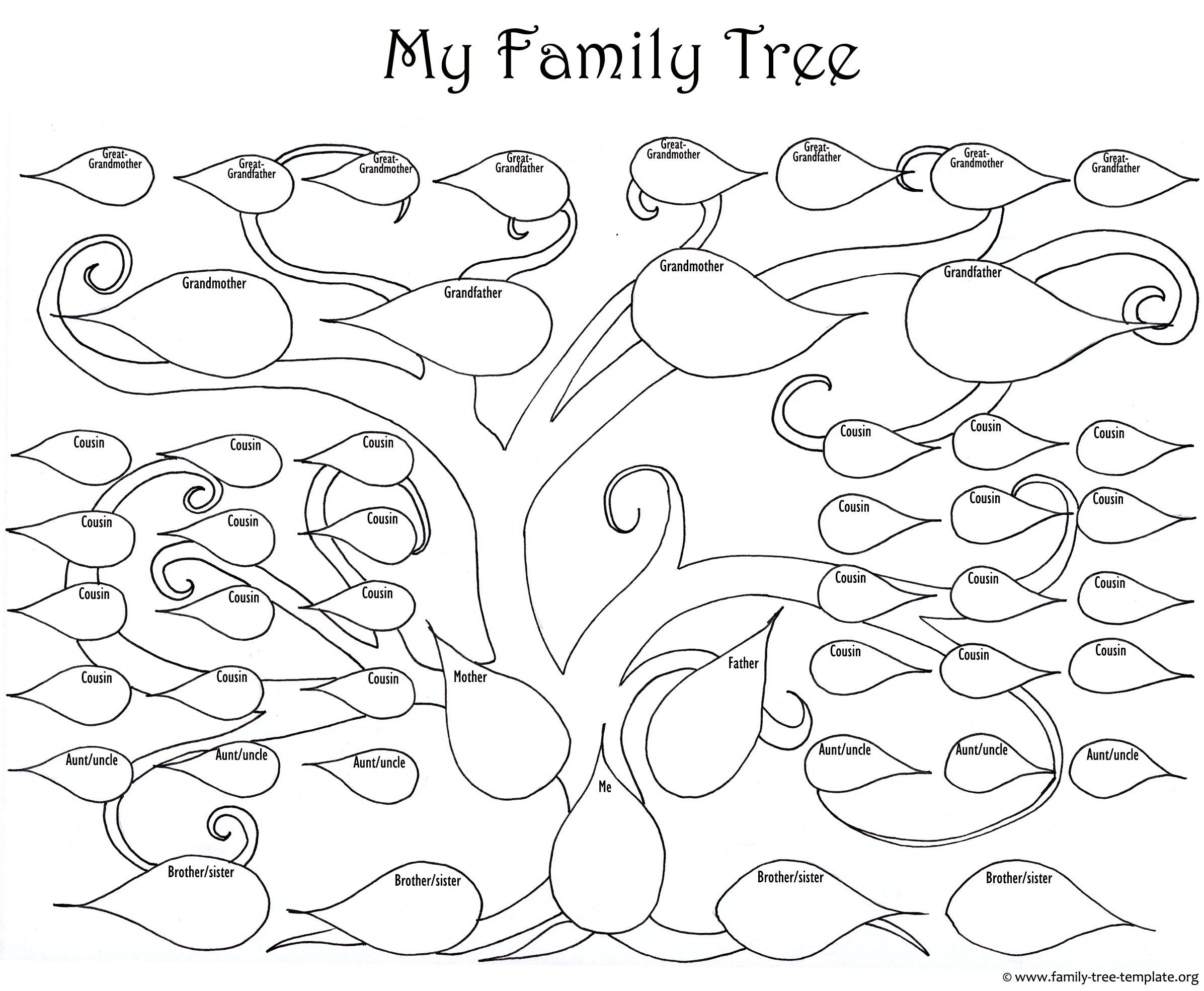 A printable blank family tree to make your kids genealogy chart the large family tree chart for kids to print and color nvjuhfo Choice Image