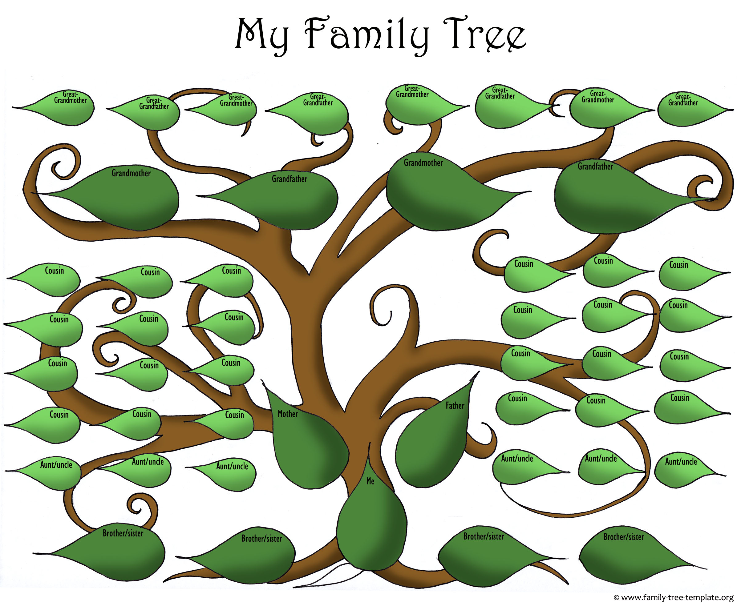 Artistic blank printable family tree template for the big family with lots of kids.