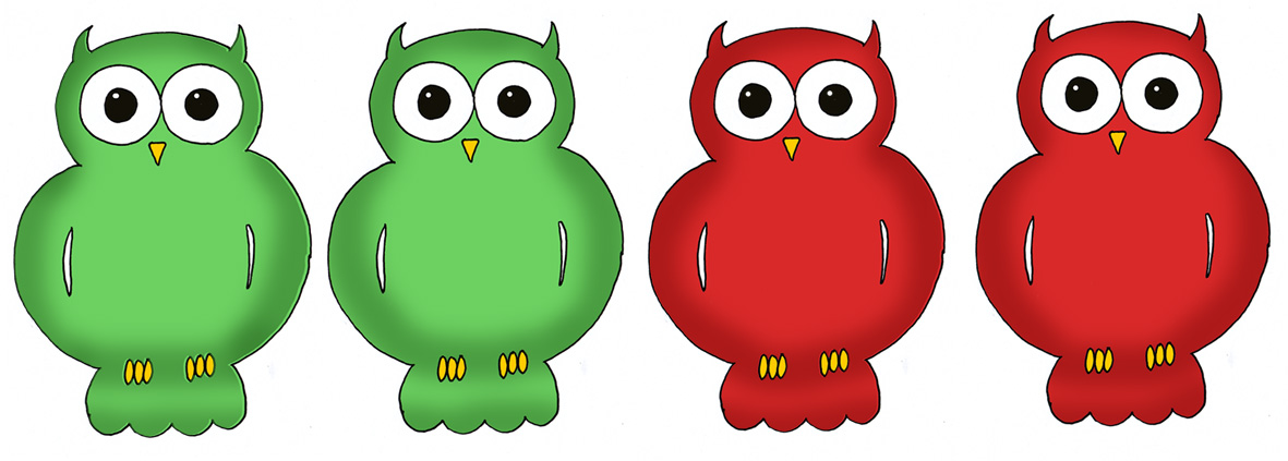 Green and red owls to glue on family treel