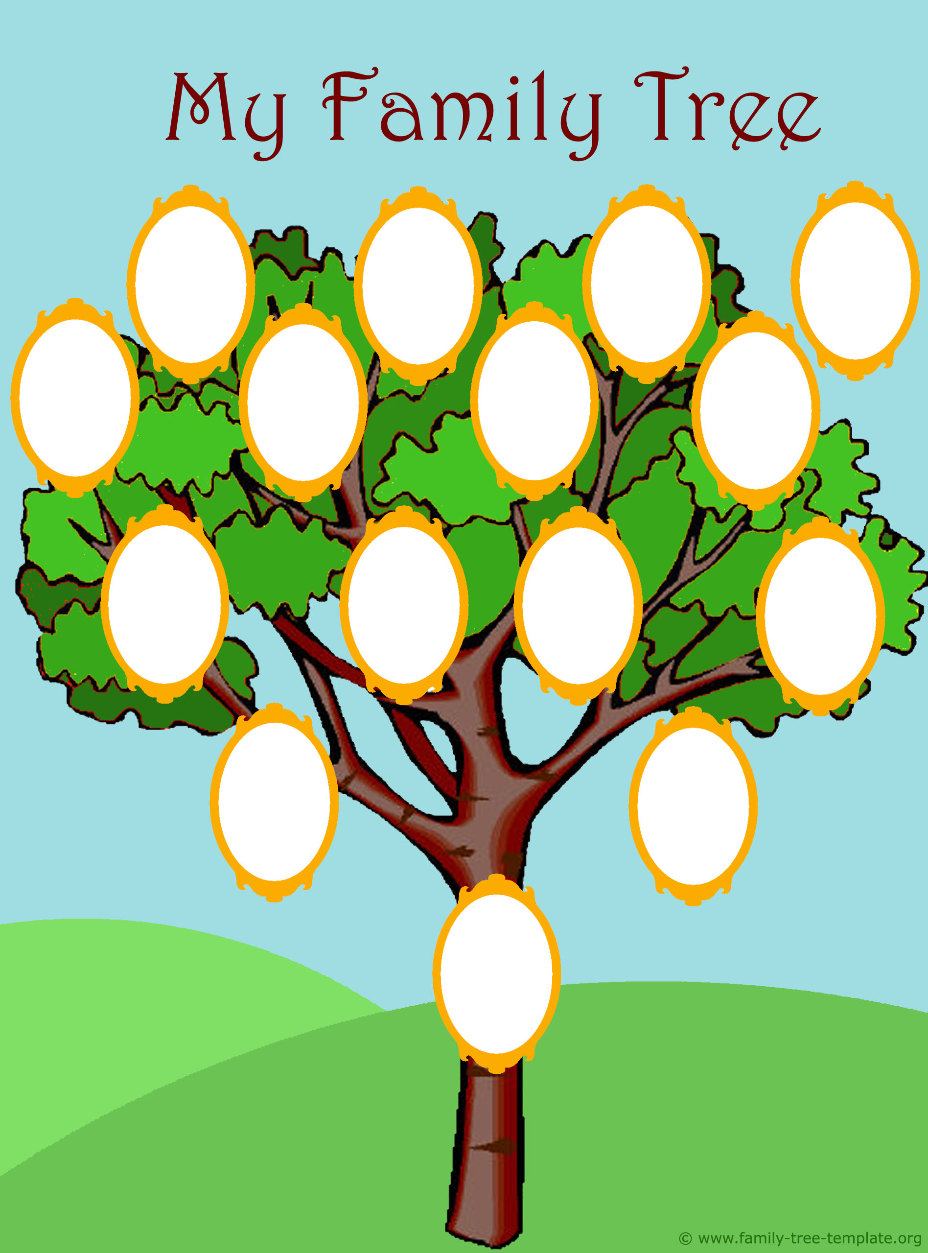 Colorful family tree for kids with picture of photo frames for family members. Have fun tracing your ancestors.