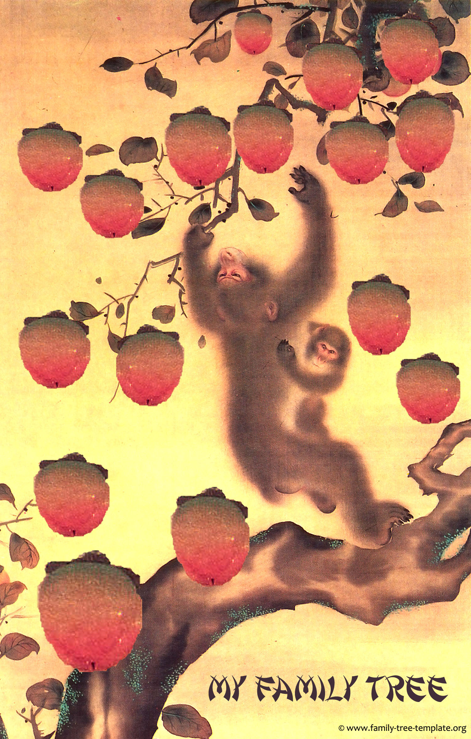 Printable family tree design chart for kids: Cute Japanese monkey painting of a monkey mother reaching for a mango.