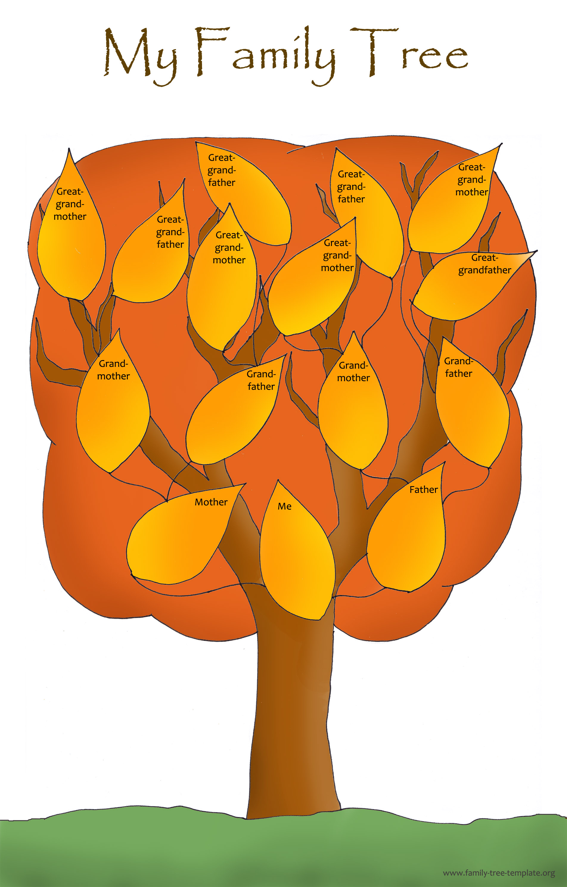 A red autum version of family tree chart