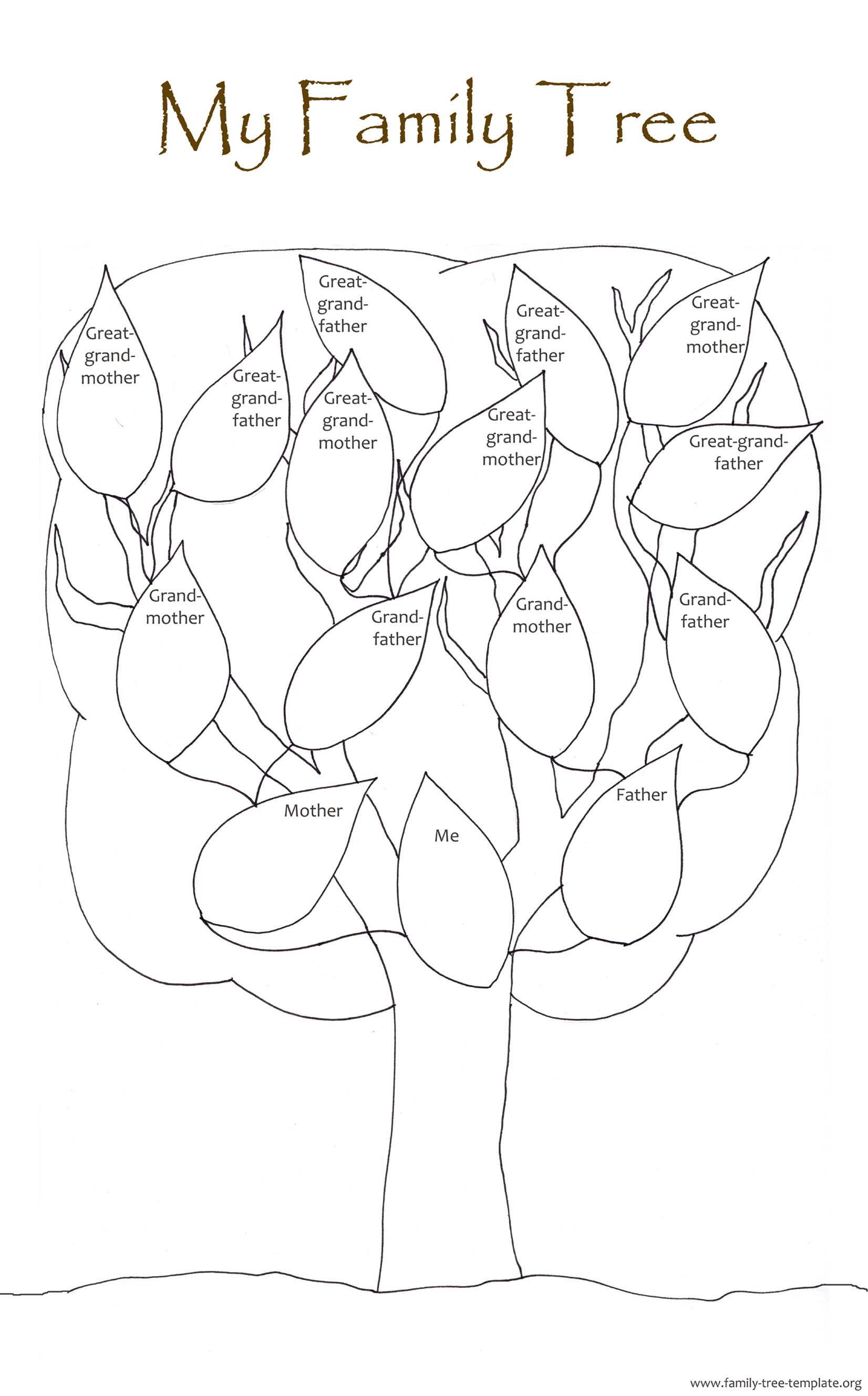 Tree chart for coloring and putting in names and pictures