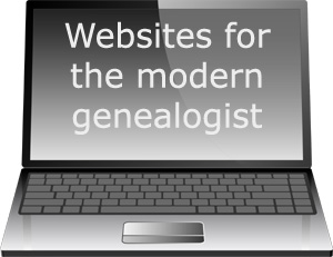 Websites for the modern genealogist: picture of laptop.