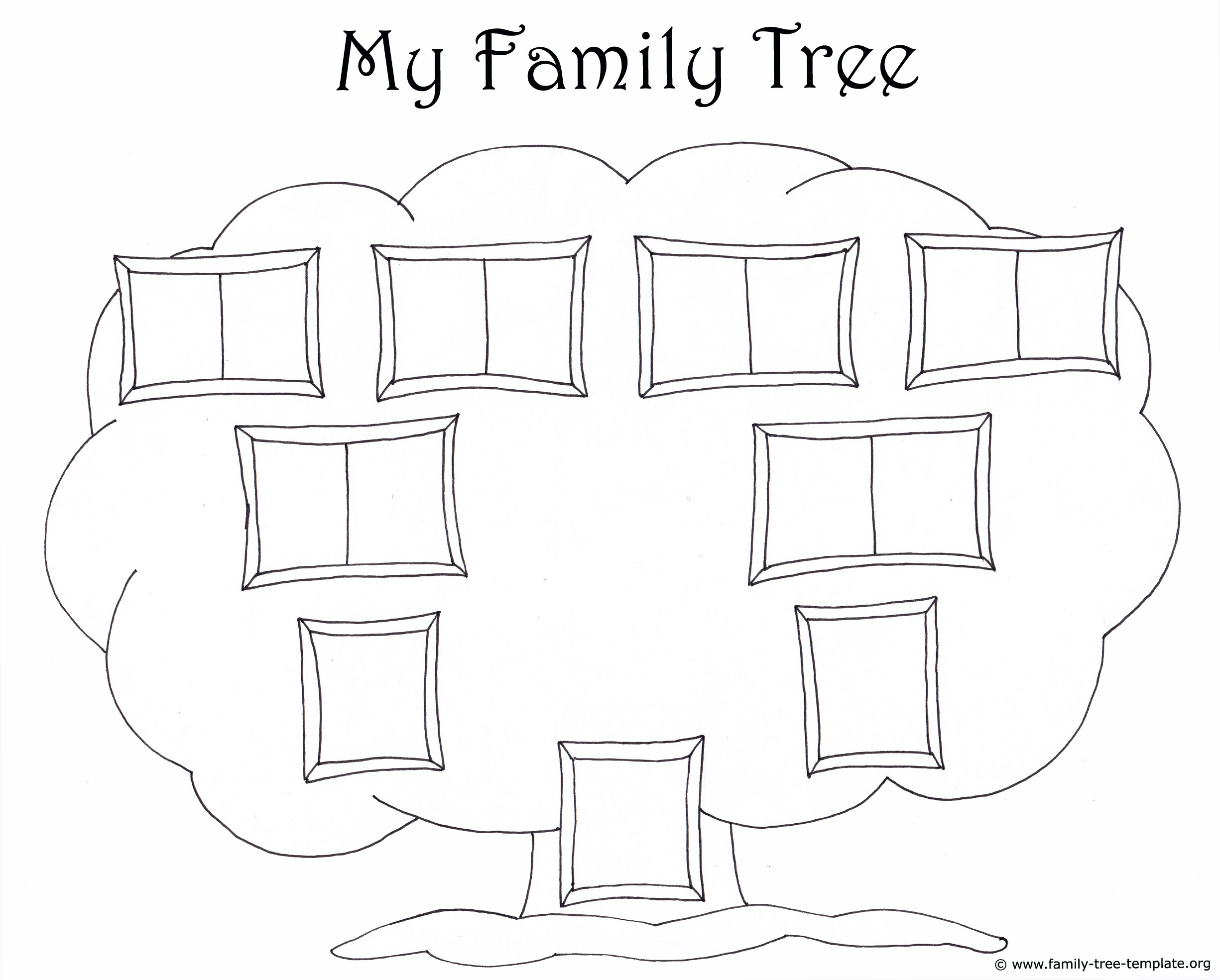 Family tree template for kids printable genealogy charts for Blank family tree template for kids