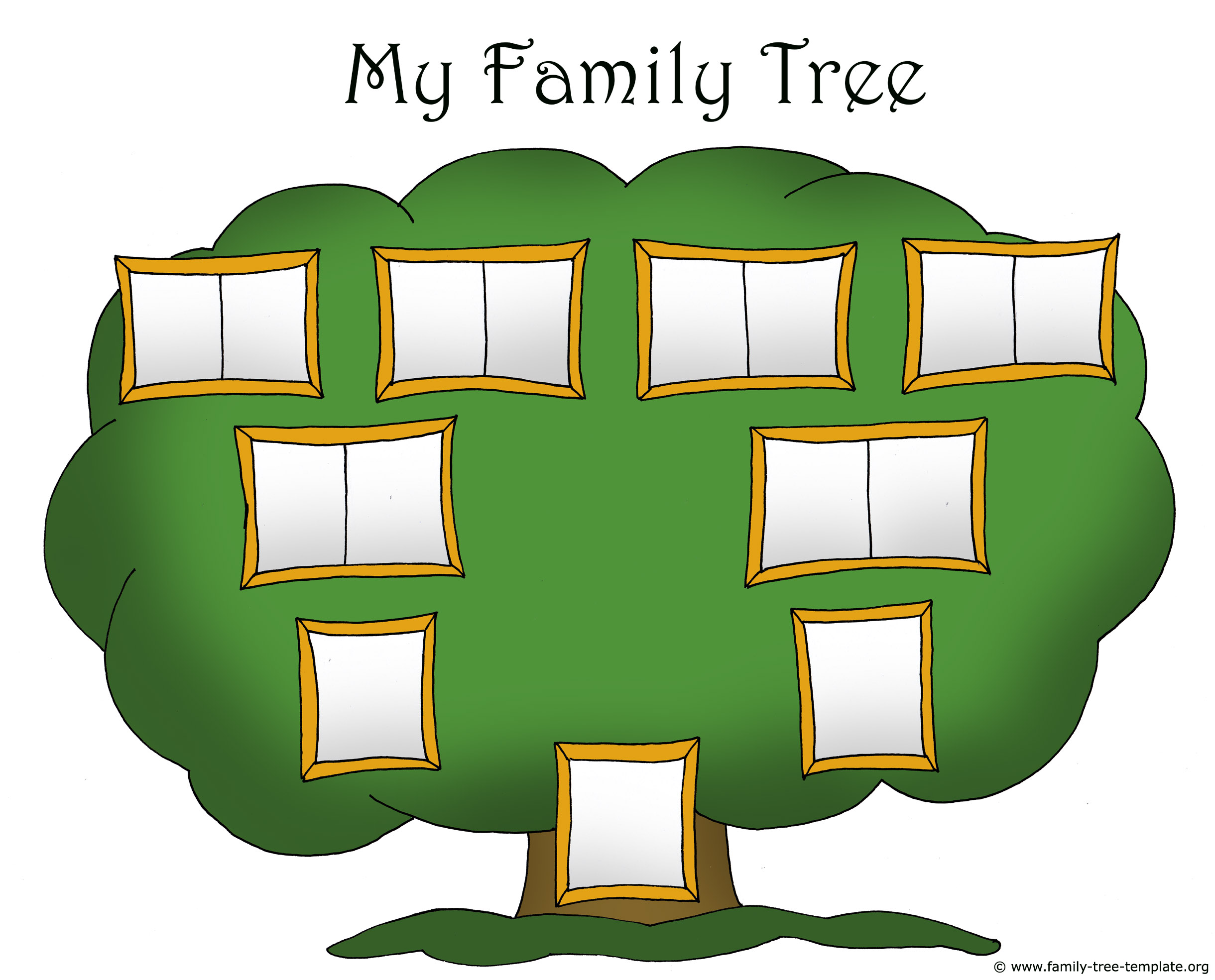 Family tree template chart for kids with picture frames for gluing in photos.