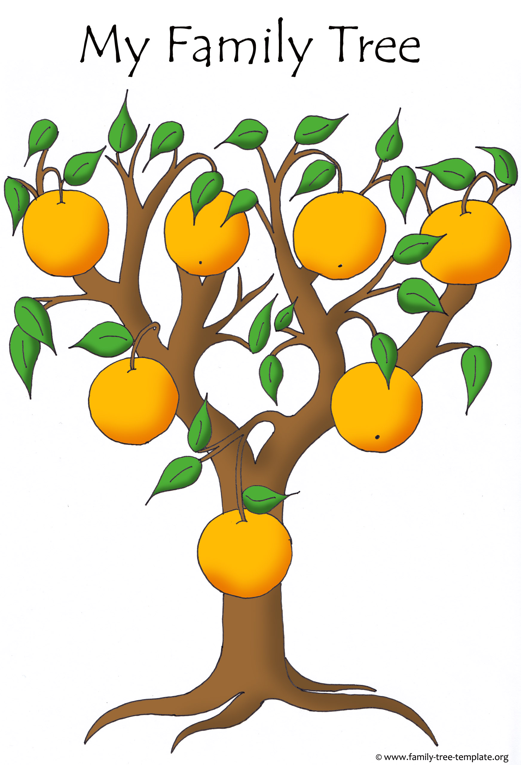 Easy family tree to fill out for smaller children. Orange tree.