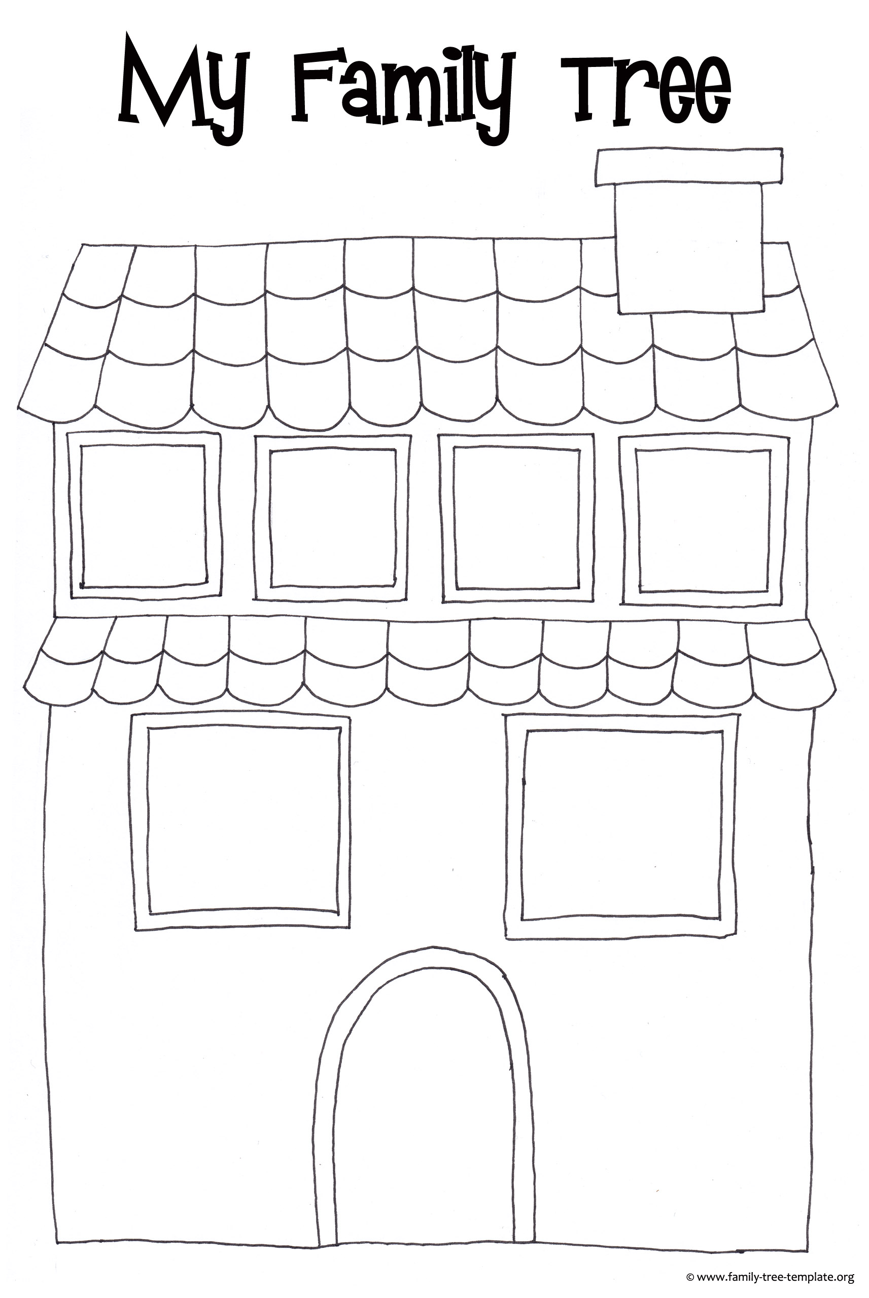 Fun family tree house for kids to color