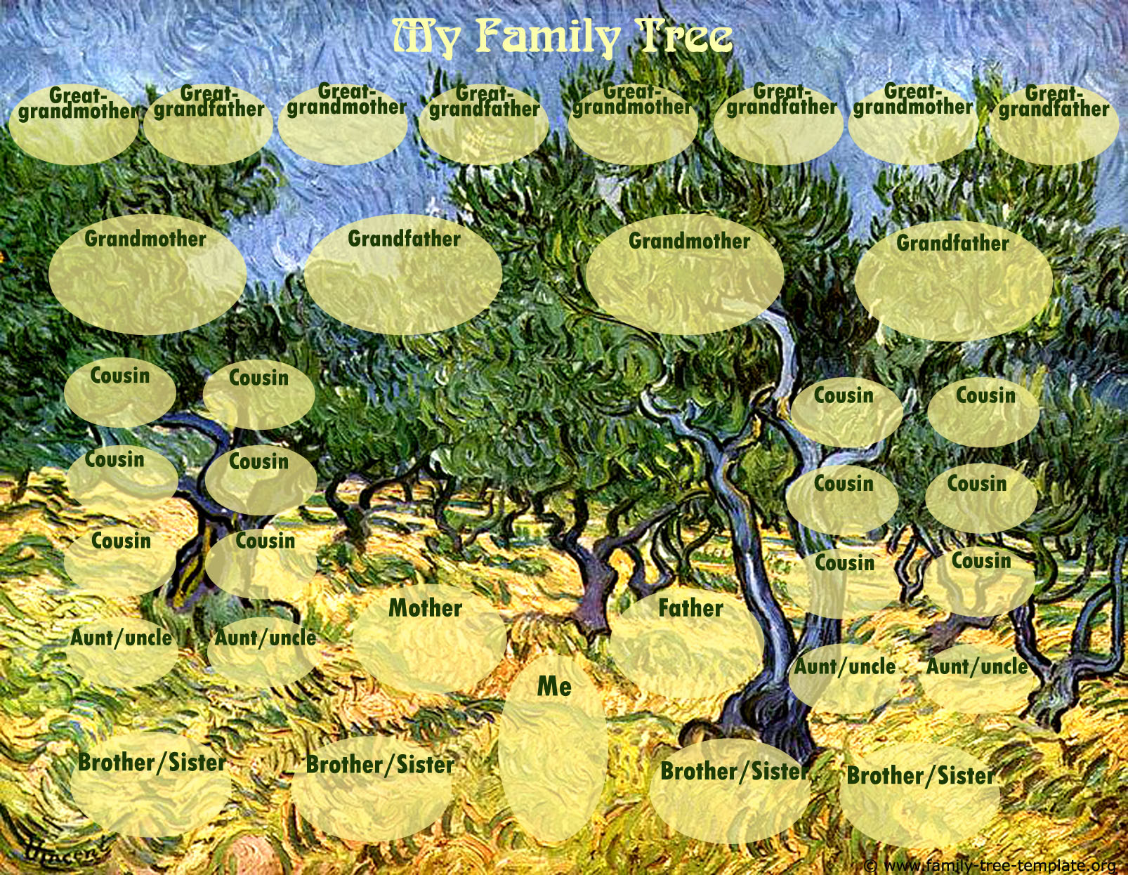 Van Gogh family tree with space for siblings, cousins, aunts and uncles.