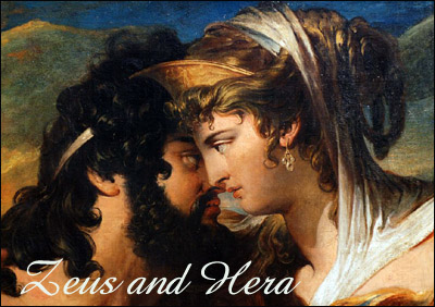 Painting of Zeus and his sister and wife Hera.