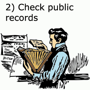 Go through public records when tracing your family history genealogy: Man looking through files.
