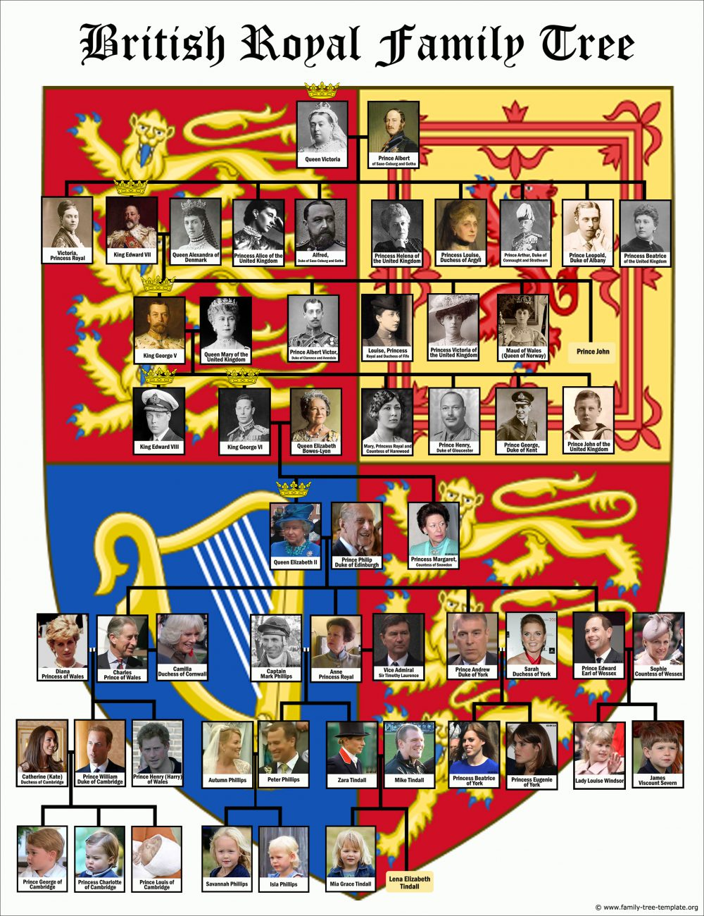 Decorative British royal family tree chart with 8 generations of kings and queens.